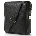 Men's black leather messenger bag